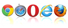 Logos unterschiedlicher Browser (Google Chrome, Safari, Opera, Internet Explorer, Firefox)